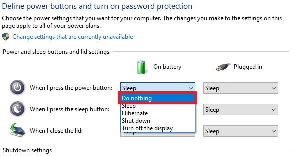 كيفية تغيير وظائف او تعطيل زر الطاقة بجهاز الكمبيوتر بنظام ويندوز 10