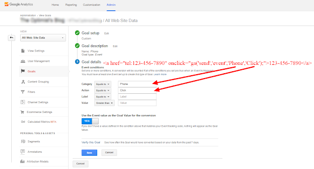 Tracking clicks on phone number using Google Analytics