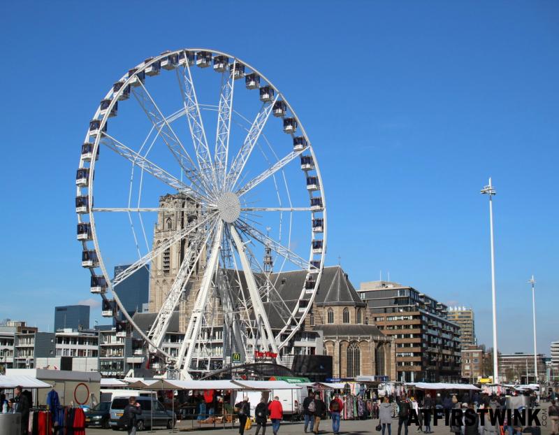 The view ferris wheel Laurenskerk Rotterdam Netherlands
