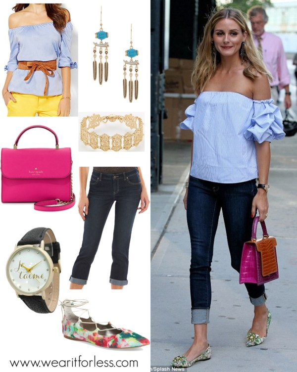 Olivia Palermo out in NYC in a blue off the shoulder ruffle blouse, cropped and rolled jeans, floral heels, and a pink top handbag bag, celebrity street style, spring outfit idea