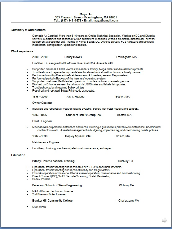 chief engineer resume examples in word format free download