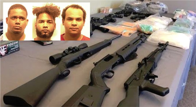 Tres dominicanos detenidos en Providence con rifles de alto poder incluyendo AK47, pistolas y drogas