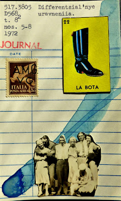 library card collage mail art Dada Fluxus Italian postage stamp mexican lottery card la bota boot vintage sepia family photo