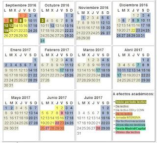 Calendario Escolar de Madrid