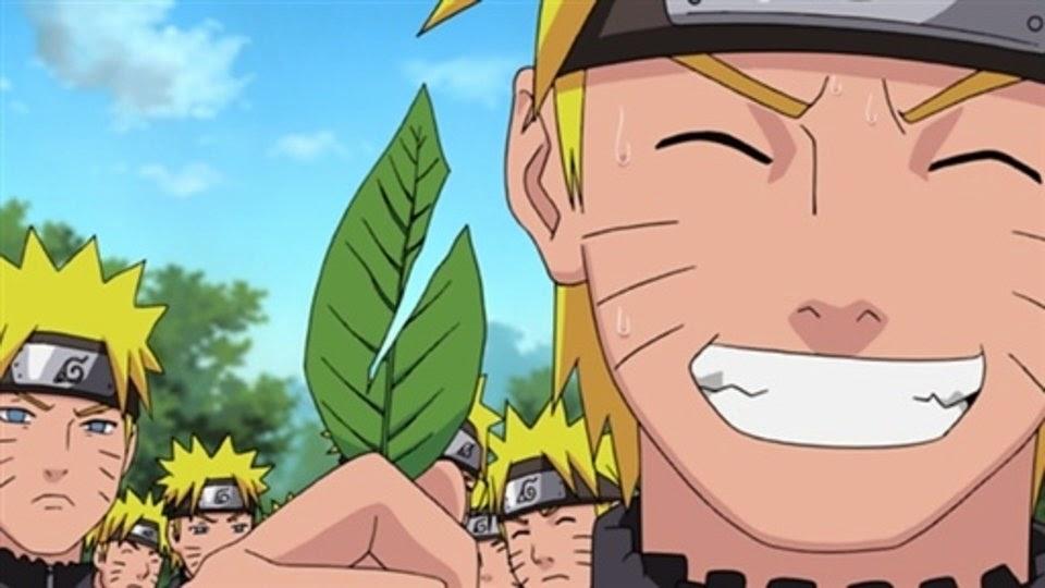 Naruto parte la hoja en su entrenamiento