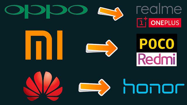 لماذا شركات الهواتف لديها شركات اخرى ثانوية | oppo , xiaomi , huawei