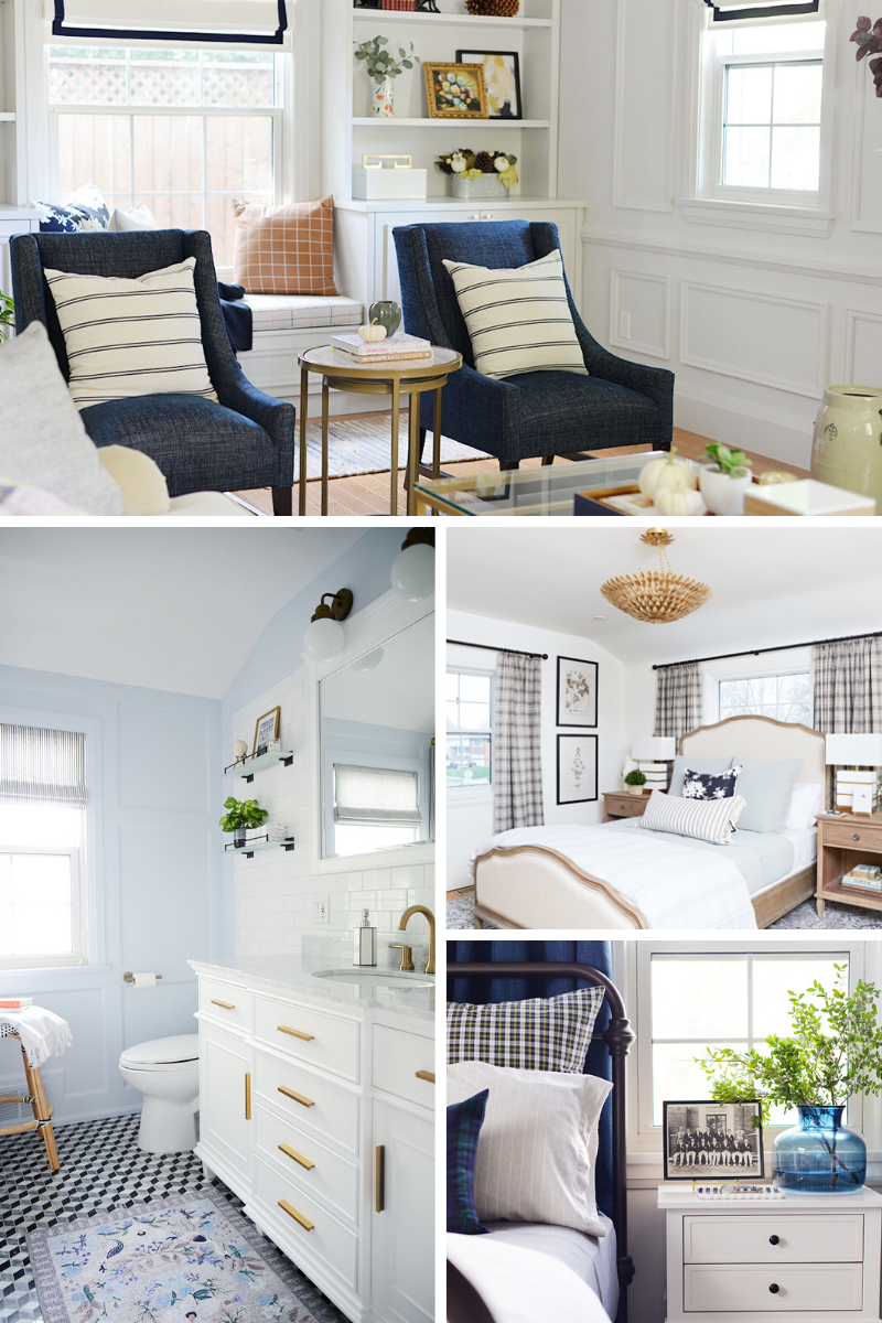 one room challenge before and afters, bedroom remodel, bathroom remodel, small guest bedroom, living room remodel
