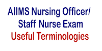 Useful Terminologies for AIIMS Nursing Officer Staff Nurse Exam