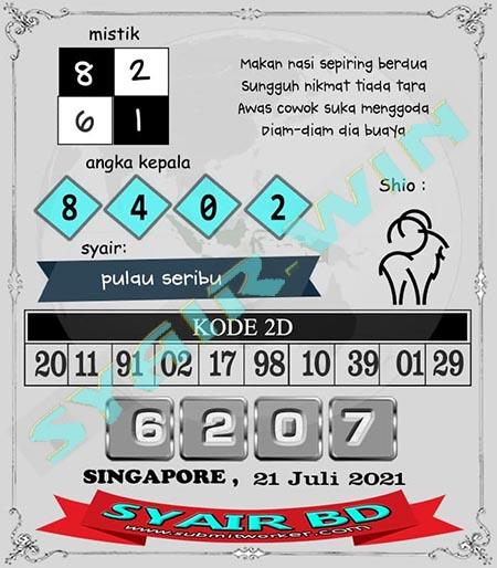 Syair BD Singapore Rabu 21 Juli 2021