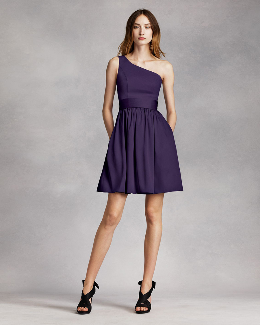 Short One Shoulder bridesmaid Dress with Satin Sash