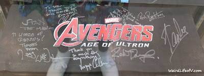 Avengers Age of Ultron cast signed chair back