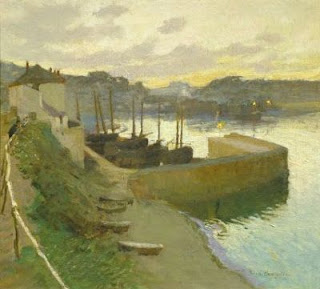 Old Harbour Newlyn by Harold Harvey