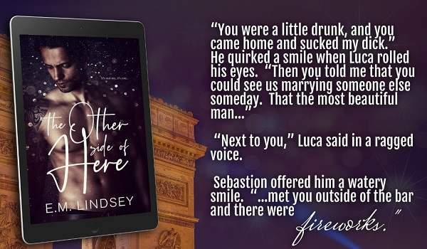 """""""You were a little drunk, and you came home and sucked my dick."""" He quirked a smile when Luca rolled his eyes. """"Then you told me that you could see us marrying someone else someday. That the most beautiful man…""""     """"Next to you,"""" Luca said in a raged voice.     Sebastian offered him a watery smile, """"…met you outside of the bar and there were fireworks."""""""