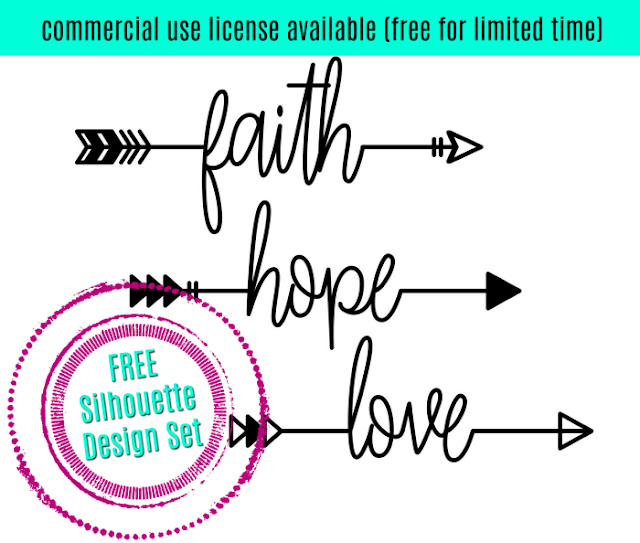 free silhouette design set faith hope love arrows silhouette school