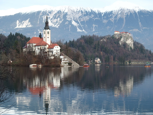 Classic, yet wintry view of Lake Bled