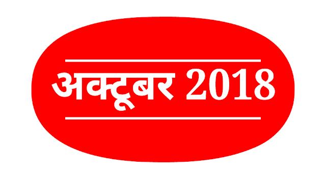 Daily Current Affairs : 01 अक्टूबर 2018 कर्रेंट अफेयर्स : Current Affairs in Hindi