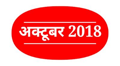 Daily Current Affairs : 20 अक्टूबर 2018 कर्रेंट अफेयर्स : Current Affairs in Hindi
