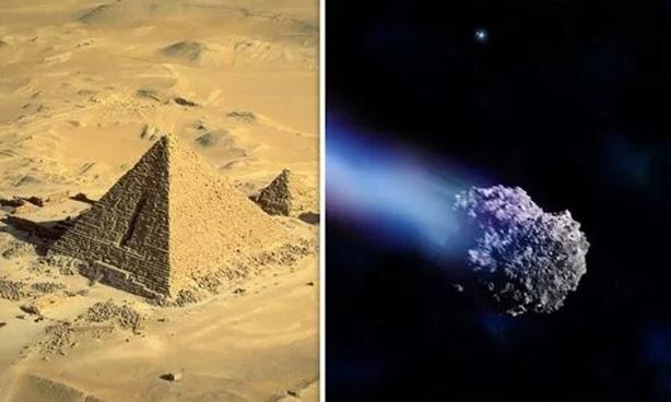 So sánh kích thước của tiểu hành tinh và kích thước của kim tự tháp GIZA