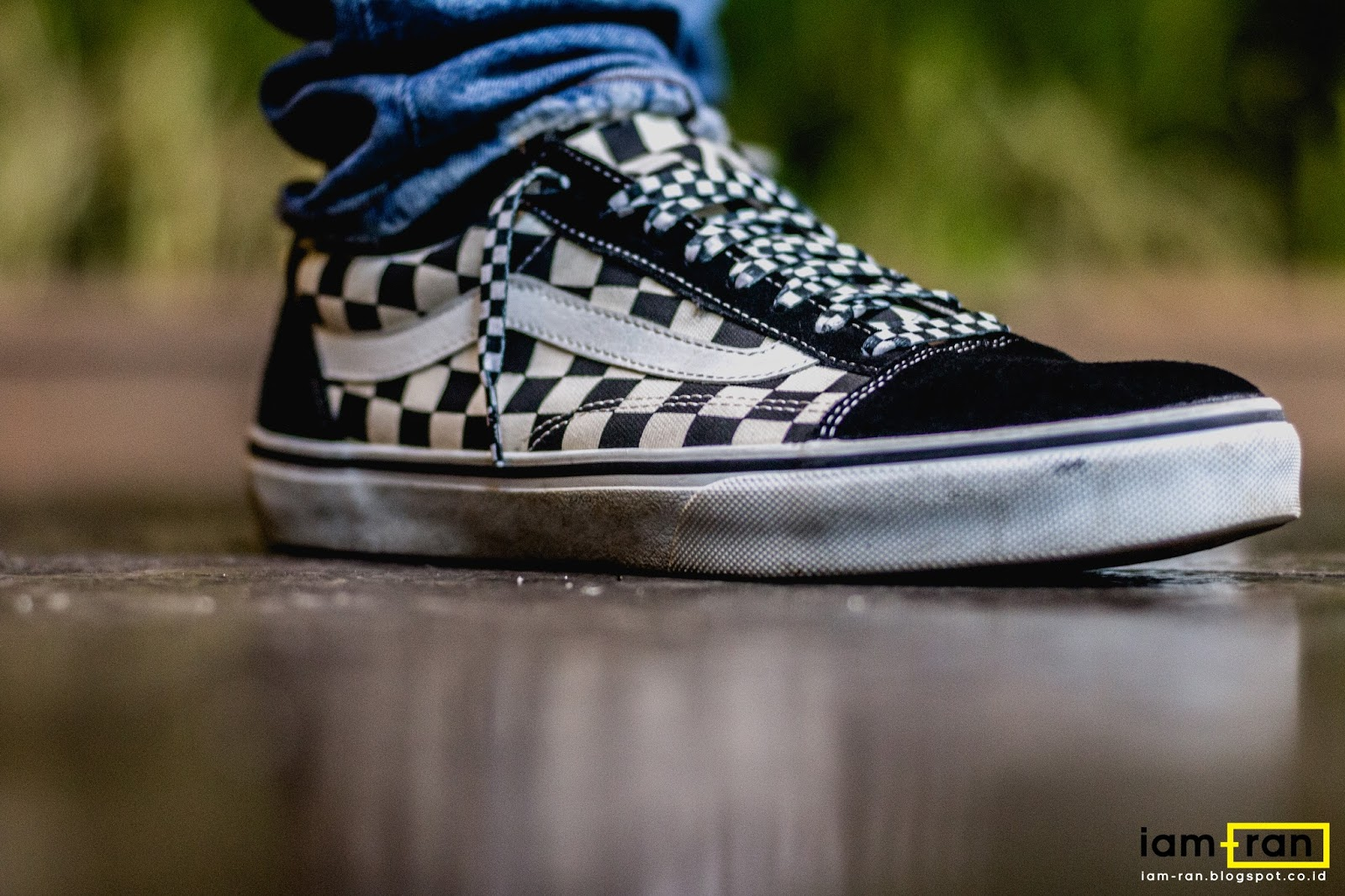 vans checkerboard authentic on feet
