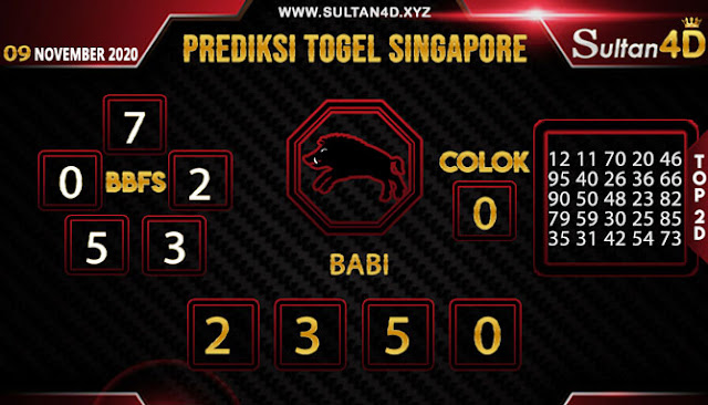 PREDIKSI TOGEL SINGAPORE SULTAN4D 09 NOVEMBER 2020