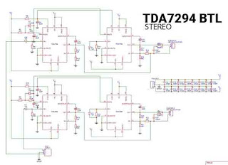 TDA7294 power amplifier scheme which is in BTL and already has a Stereo Amplifier: