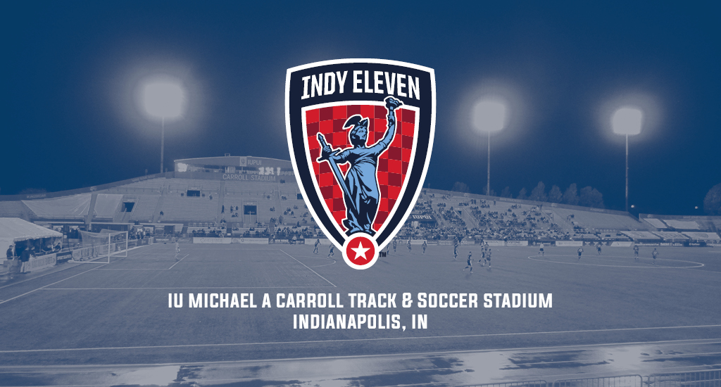 IU Michael A Carroll Track & Soccer Stadium and Indy Eleven logo