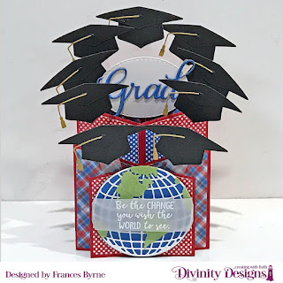 Divinity Designs Stamp Set: Color My World, Custom Dies: Cascade Fold Card With Layers, Globe & Stand, Grad, Circles, Double Stitched Ovals, Paper Collection: Old Glory