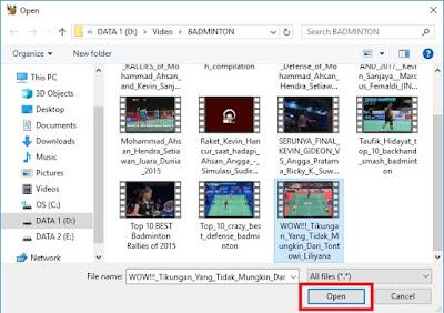 Pilih video yang ingin Sobat kompres, jka sudah klik Open.