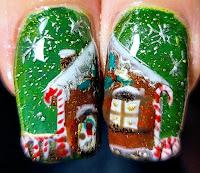 Holiday Gingerbread Nail Art
