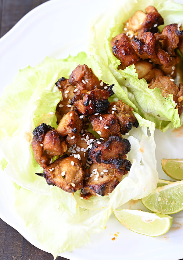 lettuce cups with thai coconut chicken