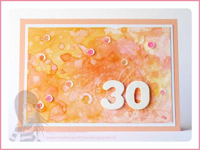 Stampin' Up! rosa Mädchen Kulmbach: Geburtstagskarten zum 30. in Aquarelltechnik ohne Stempel