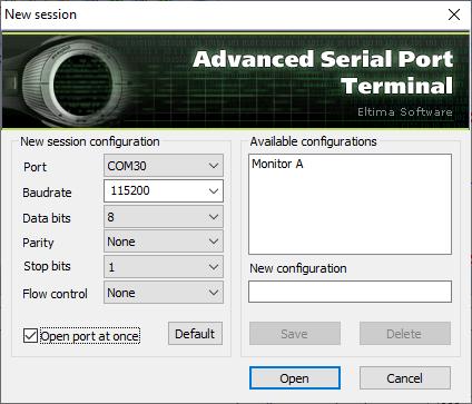 Port settings (Eltima Serial Port Terminal)