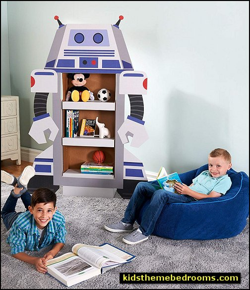 Rocket to Space Robot Room Decoration - Life Size Cardboard Character Bookshelf