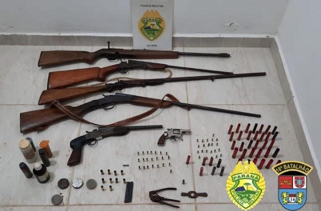 PM apreende várias armas de fogo e munições em Pitanga