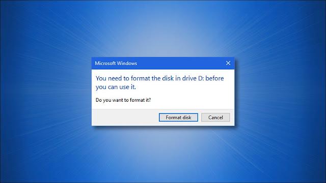 مربع حوار محرك تنسيق Windows 10