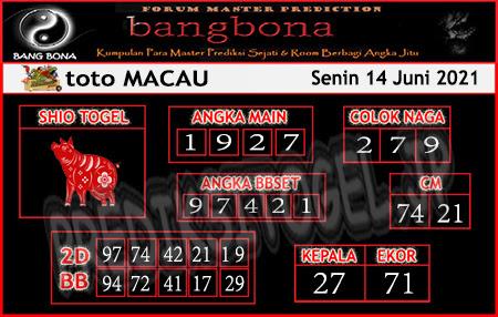 Prediksi Bangbona Toto Macau Senin 14 Juni 2021