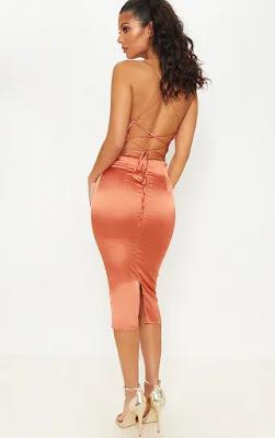 Rust Strappy back Cowl Neck Midi prom dress back side