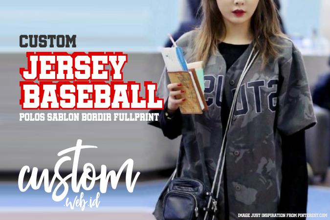 Baju Jersey Baseball Polos Sablon Bordir Full Print Custom
