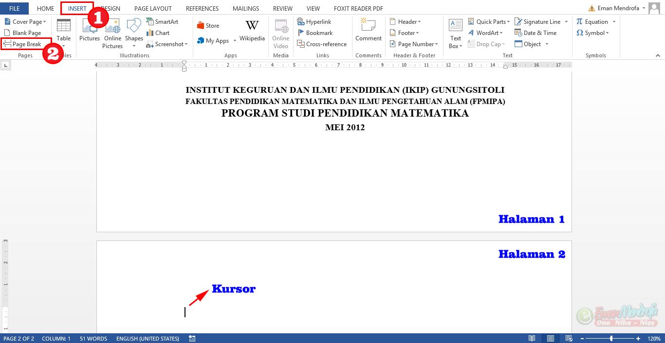 Menempatkan Teks Paragraf di Halaman Baru Dokumen