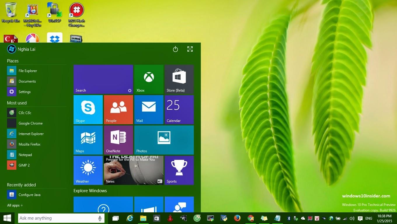 Windows  Build  Start Menu Theme