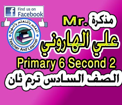تحميل مذكرة الأستاذ الرائع / مستر على الهاروني  في اللغة الإنجليزية  للصف السادس ترم ثاني   Primary 6 term 2