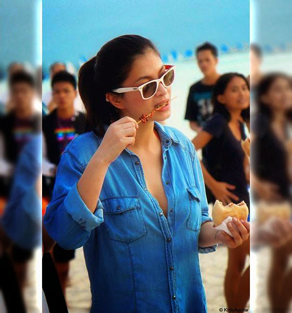 Angel Locsin spotted eating isaw burger combo in Boracay