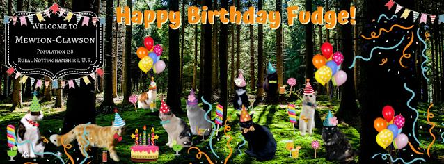 Happy 6th Birthday Fudge with Mewton-Clawson Cats The B Team Pawty ©BionicBasil®