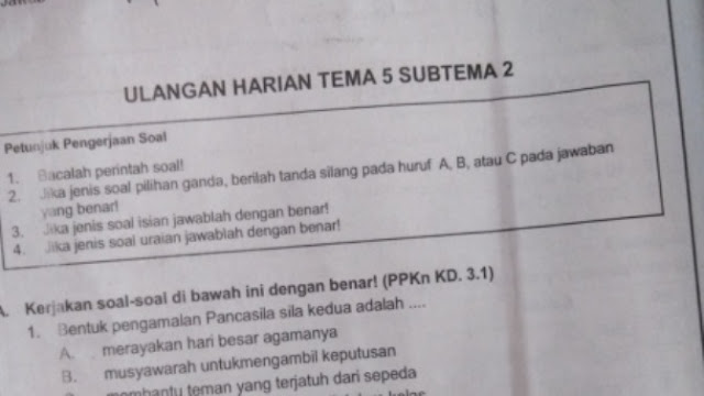 Soal Ulangan Harian K-13 Kelas 2 Tema 5 Subtema 2