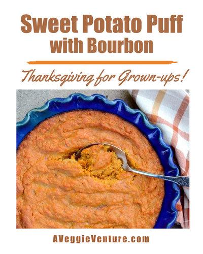 Sweet Potato Puff with Bourbon, another Thanksgiving recipe ♥ AVeggieVenture.com.