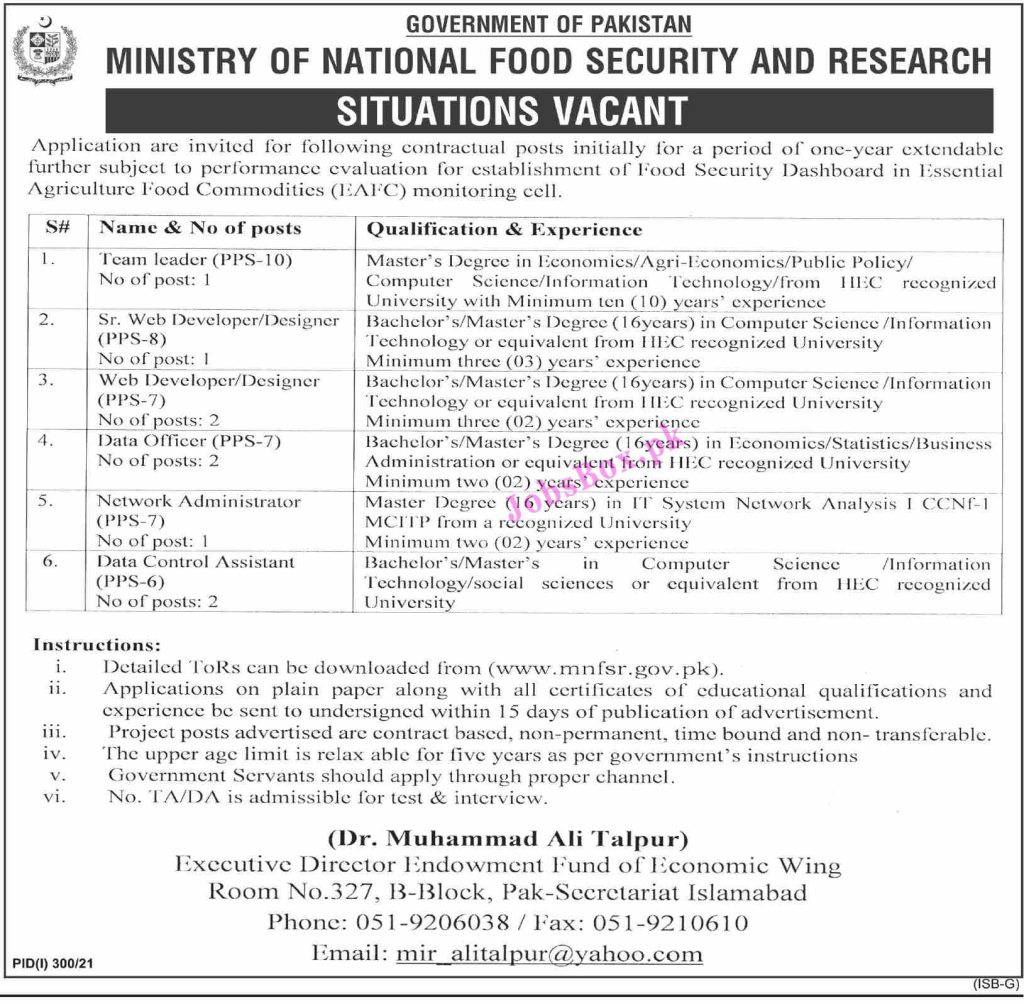 Ministry of National Food Security & Research Jobs 2021 – MNFSR Jobs