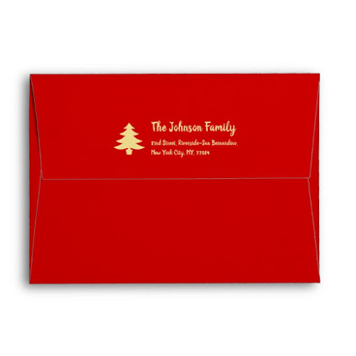 Gold Tree Red Christmas Party Holiday Mailing Envelope