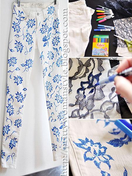 Как да си направим дънки на цветя с дантела и флумастри