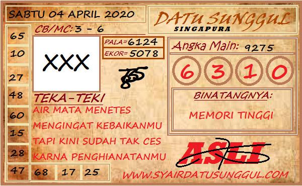 Prediksi Togel Singapura Sabtu 04 April 2020 - Syair Datu Sunggul SGP