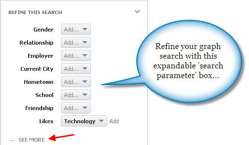 Facebook graph search custom search parameter box